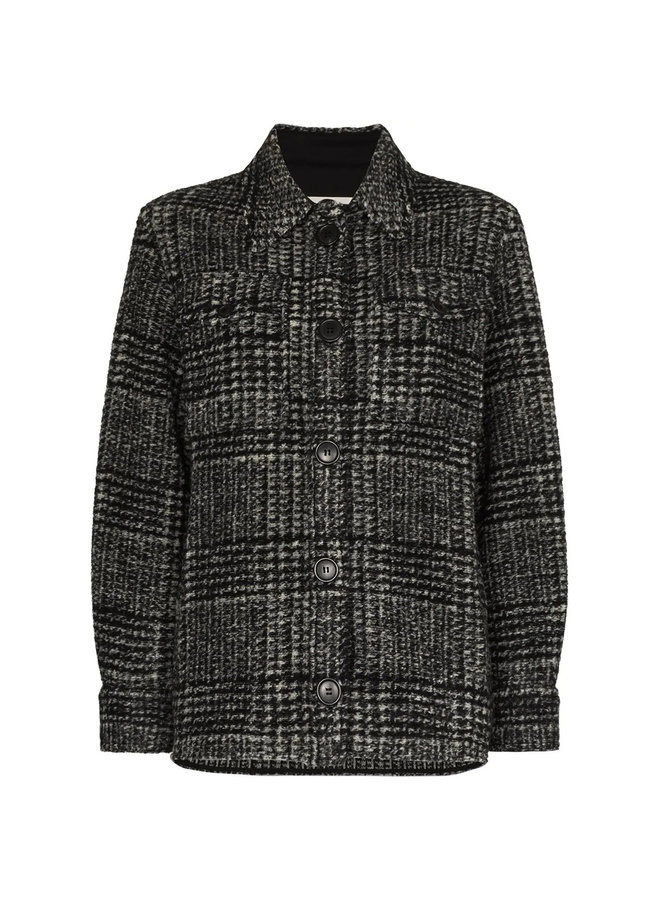 Shirt Jacket in Check Print in Black