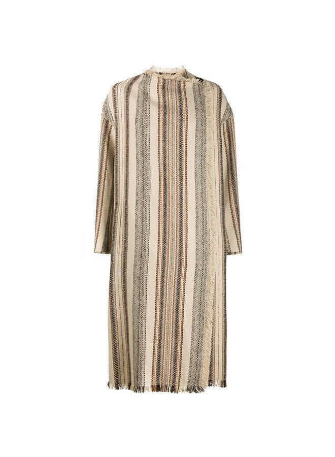 Long Stripped Coat in Cotton/Wool in Ecru