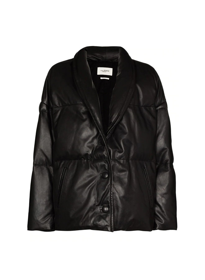 Puffer Jacket in Leather in Black