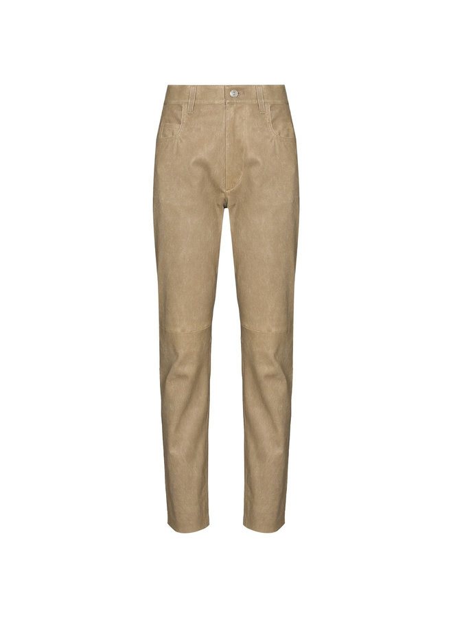 High Waist Slim Fit Pants in Leather