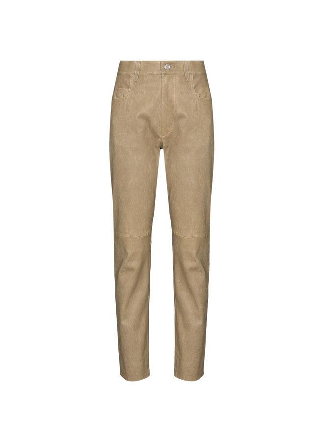 High Waist Slim Fit Pants in Leather in Beige