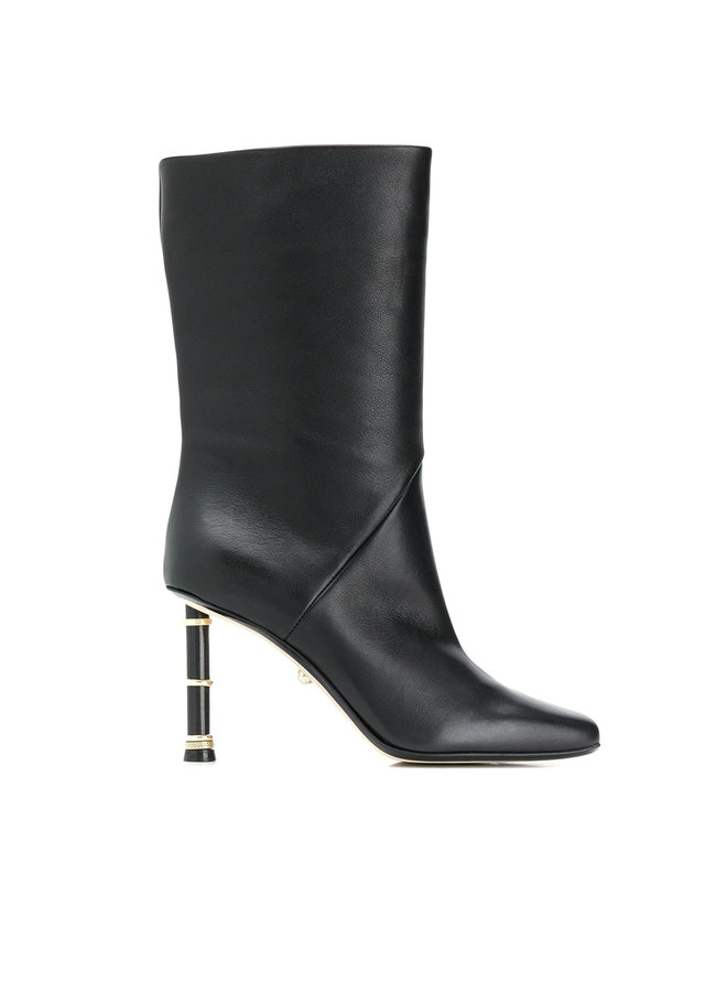 Grace Square Toe High Heel Boots in Leather in Black