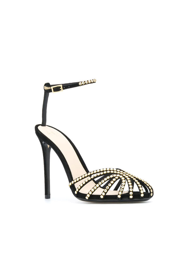 Ianna High Heel Sandals with Crystals in Suede in Black