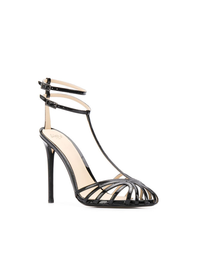 Stella High Heel Sandals in Patent Leather in Black