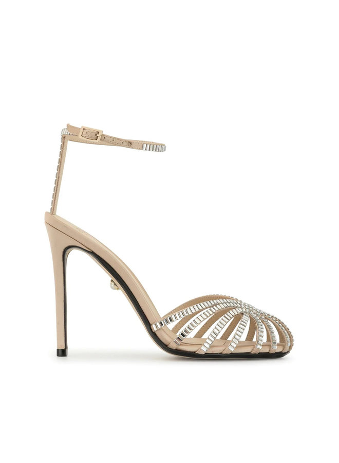 Penelope High Heel Sandal with Swarovski in Sand
