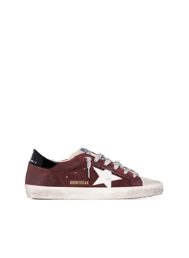 Superstar Low Top Sneakers in Suede with Fur in Brick