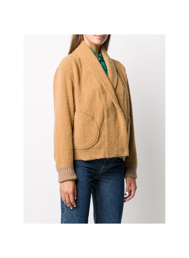Bomber Jacket in Shearling Wool in Camel