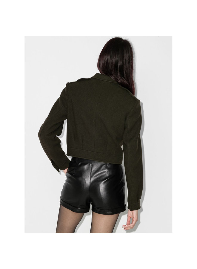 Cropped Military Jacket in Wool in Khaki