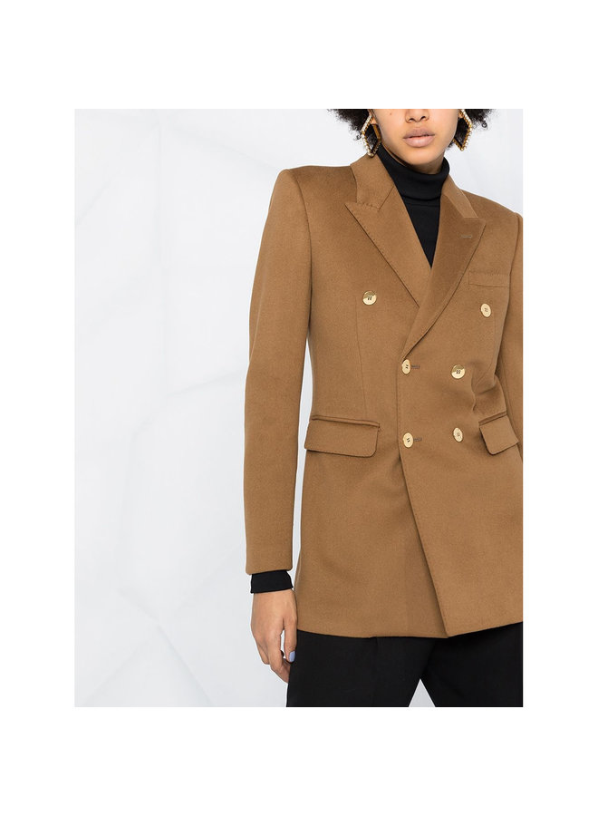 Double Breasted Blazer Jacket in Wool/Cashmere in Camel