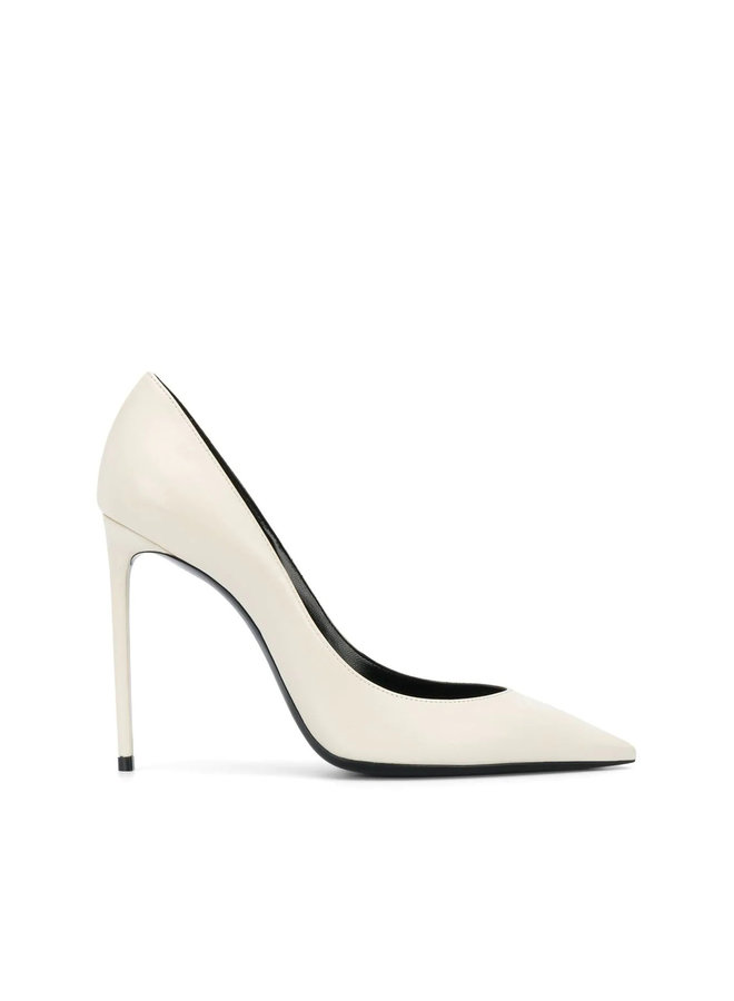 Zoe High Heel Pump in Leather in Pearl White