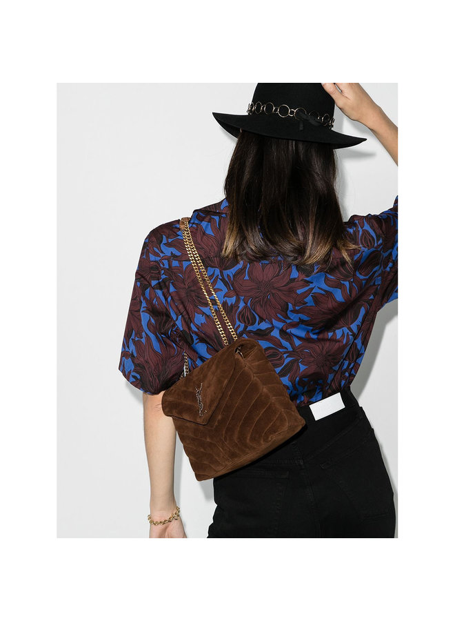 Loulou Small Shoulder Bag in Suede in Camel/Gold