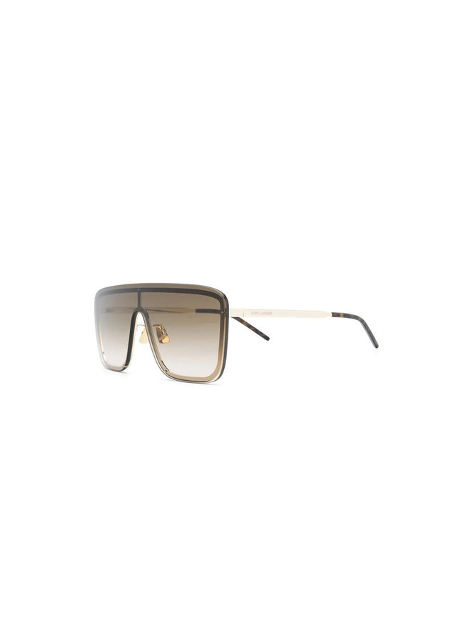 New Wave Mask Sunglasses in Metal in Gold/Brown