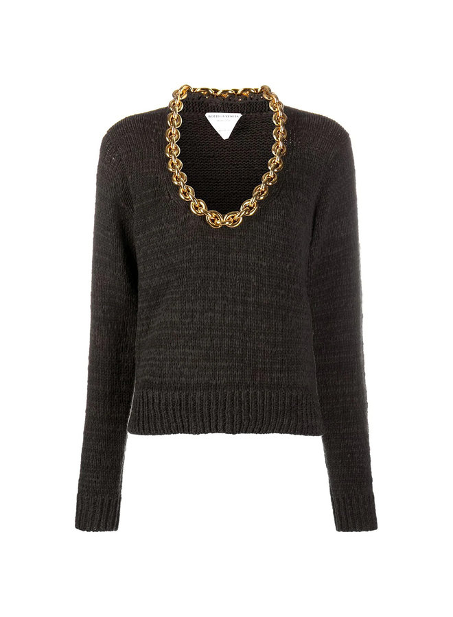 Knitwear Top with Chunky Chain Detail