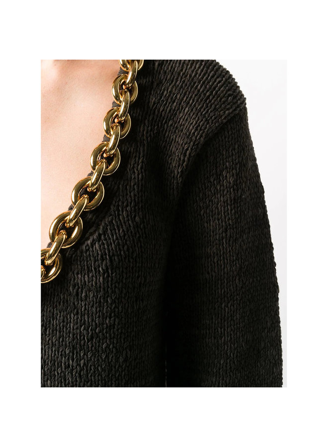 Knitwear Top with Chunky Chain Detail in Cotton in Brown/Gold