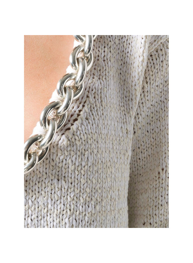 Knitwear Top with Chunky Chain Detail in Cotton in Chalk/Silver