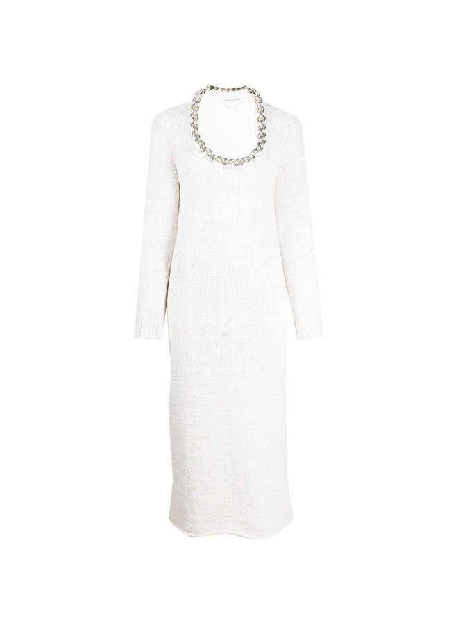 Knitted Dress with Chunky Chain Neckline in Chalk/Silver