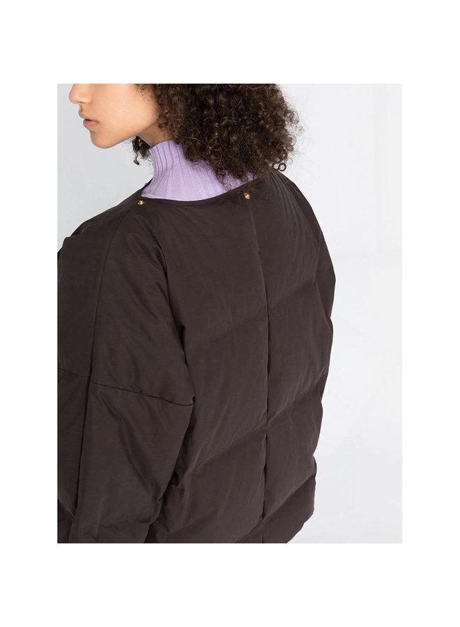 Oversized Padded Short Coat in Brown