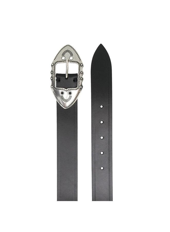 Western Buckle Belt in Leather in Black/Silver