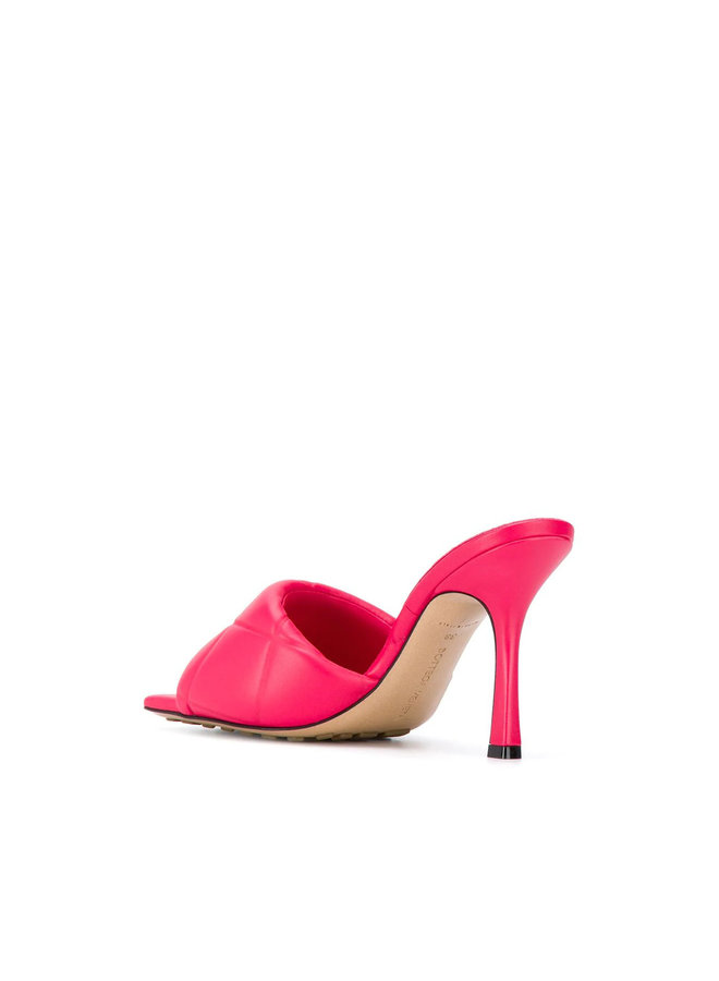 Intrecciato Padded High Heel Mules in Leather in Lollipop