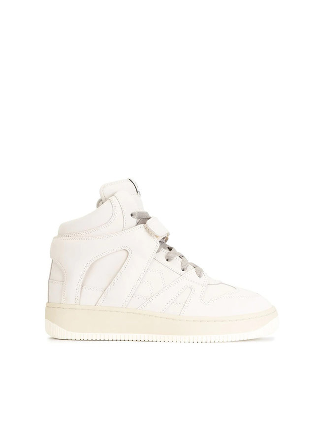 High Top Sneakers in Leather in Ecru