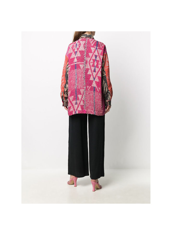 Shirt Jacket in Printed Cotton in Multicolor Carpet