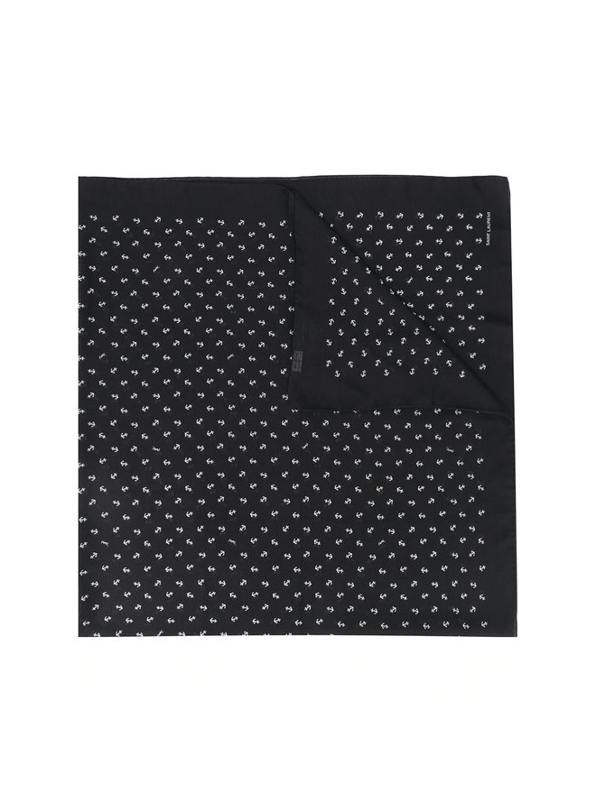 Anchor Printed Scarf in Wool in Black/Ivory