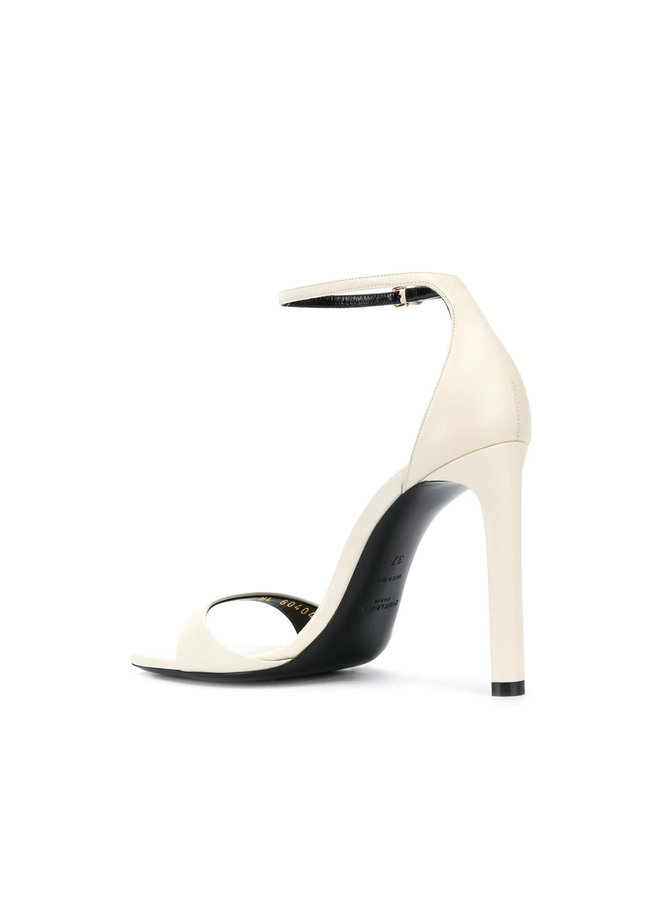 Bea High Heel Sandals in Leather in Pearl