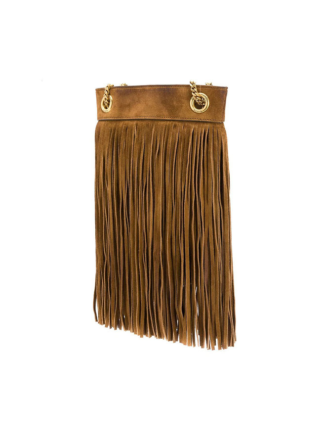 Grace Mini Fringed Shoulder Bag in Leather in Dark Camel