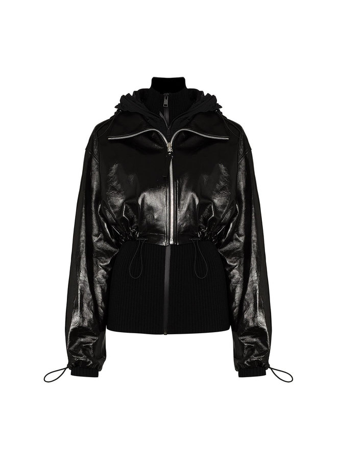 Paneled Leather Outwear Jacket
