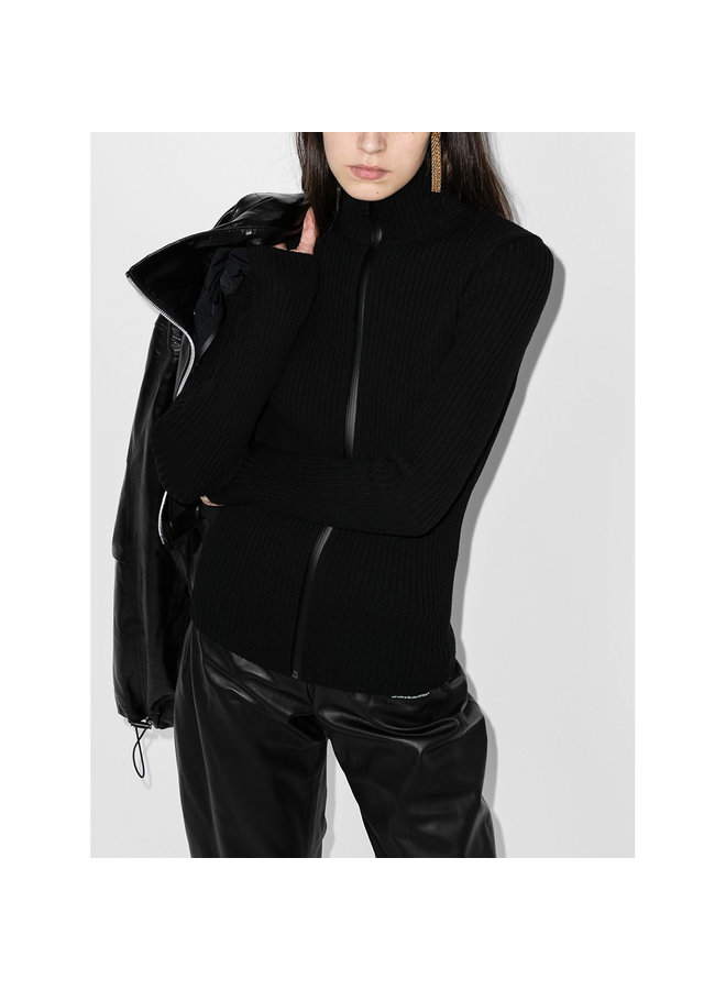 Paneled Outwear Jacket in Leather/Knit in Black