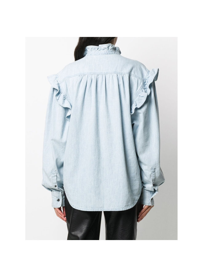 Long Sleeve Shirt with Ruffles in Cotton in Light Blue