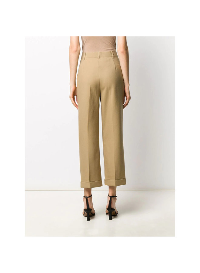High Waisted Cropped Tailored Pants in Wool in Beige