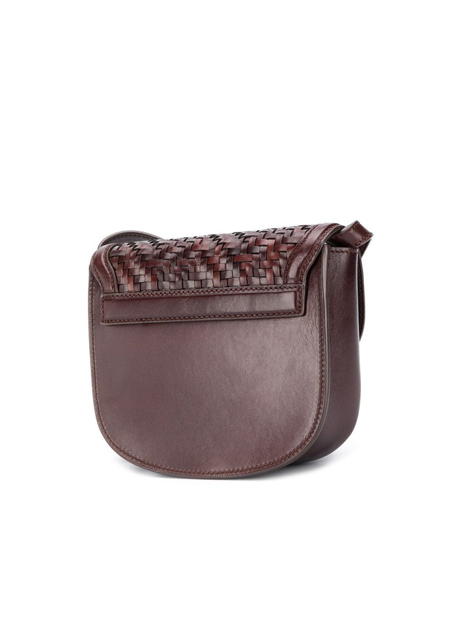 Kaia Mini Woven Crossbody Bag in Leather in Brown