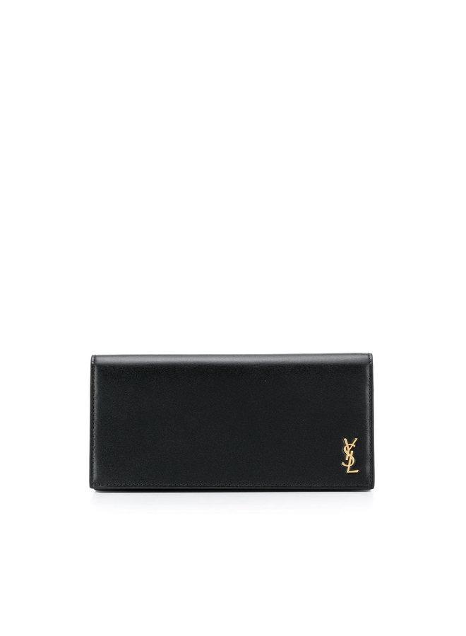Monogram Flap Wallet in Leather in Black