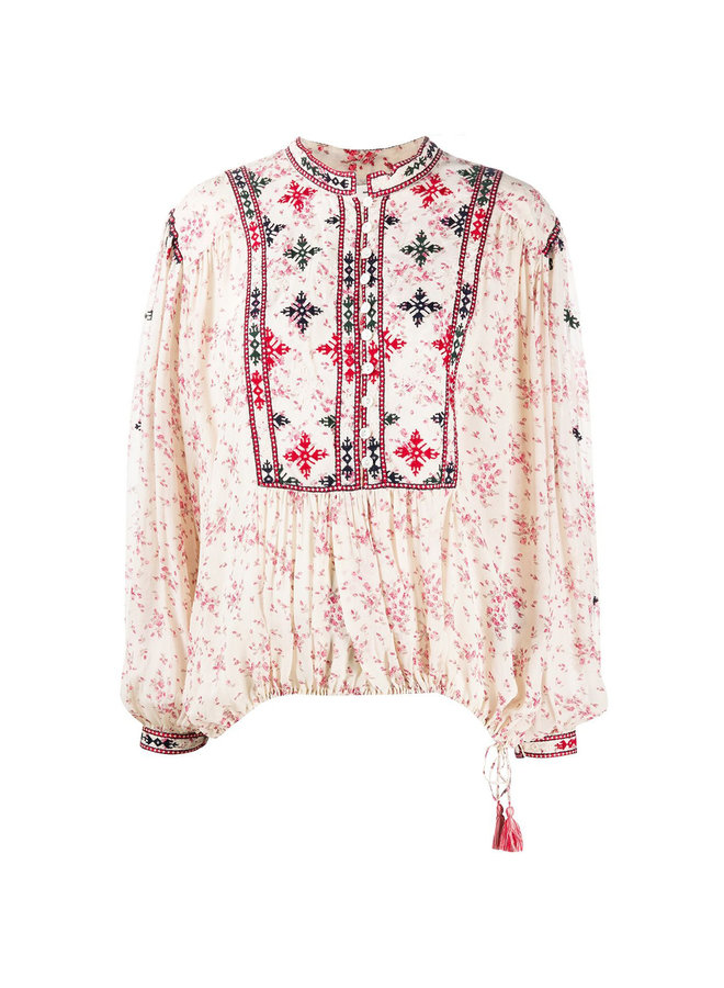 Long Sleeve Embroidered Floral Blouse