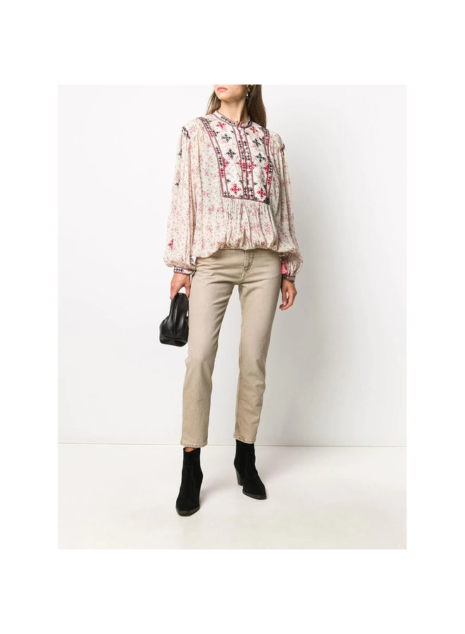 Long Sleeve Embroidered Blouse in Floral Print in Ecru