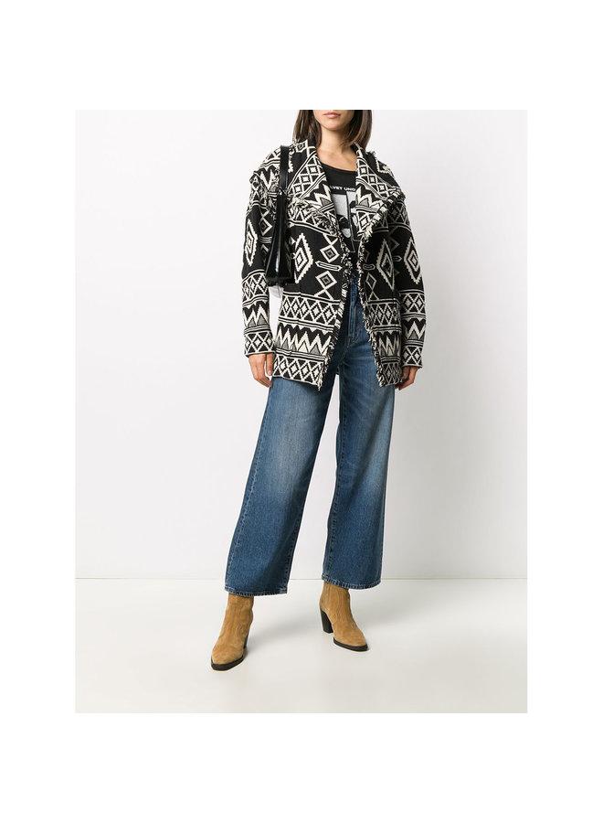 Short Coat in Ethnic Pattern in Cotton in Black