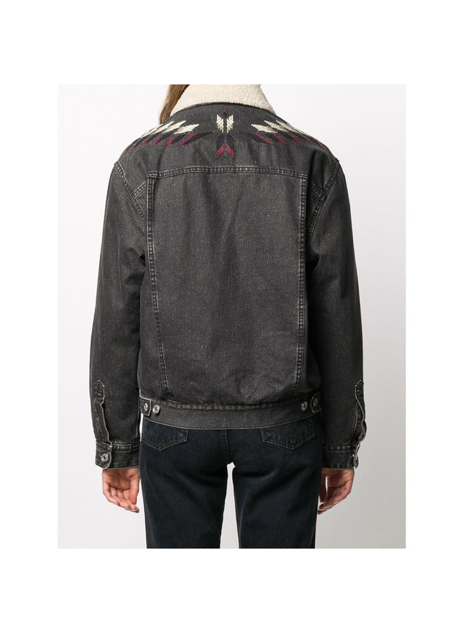 Embroidered Denim Jacket in Cotton in Faded Black