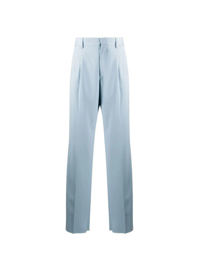 High Waisted Straight Leg Pants in Wool in Angel Blue