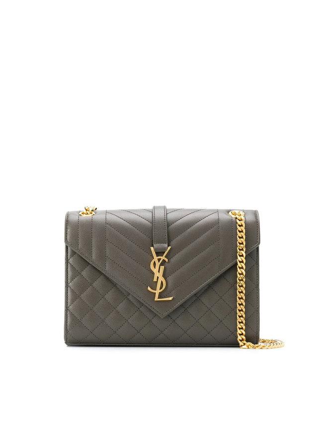 Envelope Medium Shoulder Bag in Leather in Dark Grey