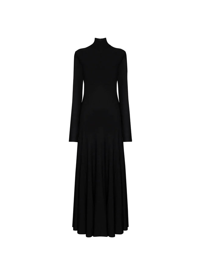 Long Turtleneck Fluid Dress in Black