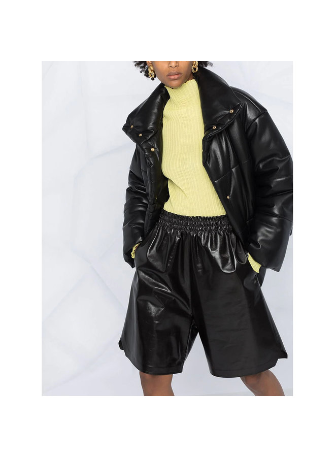 Knee Length Leather Shorts in Leather in Black