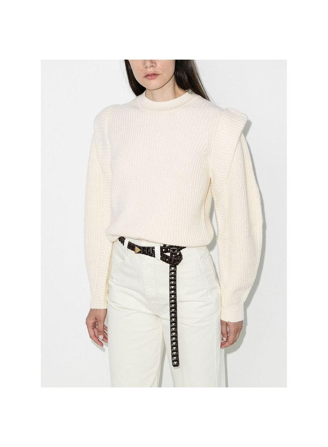 Crew Neck Knitwear Jumper in Cashmere/Wool in Ecru