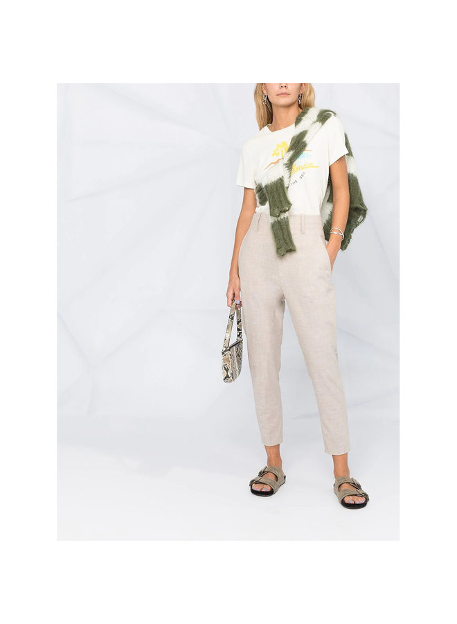High Waisted Pants in Wool in Beige