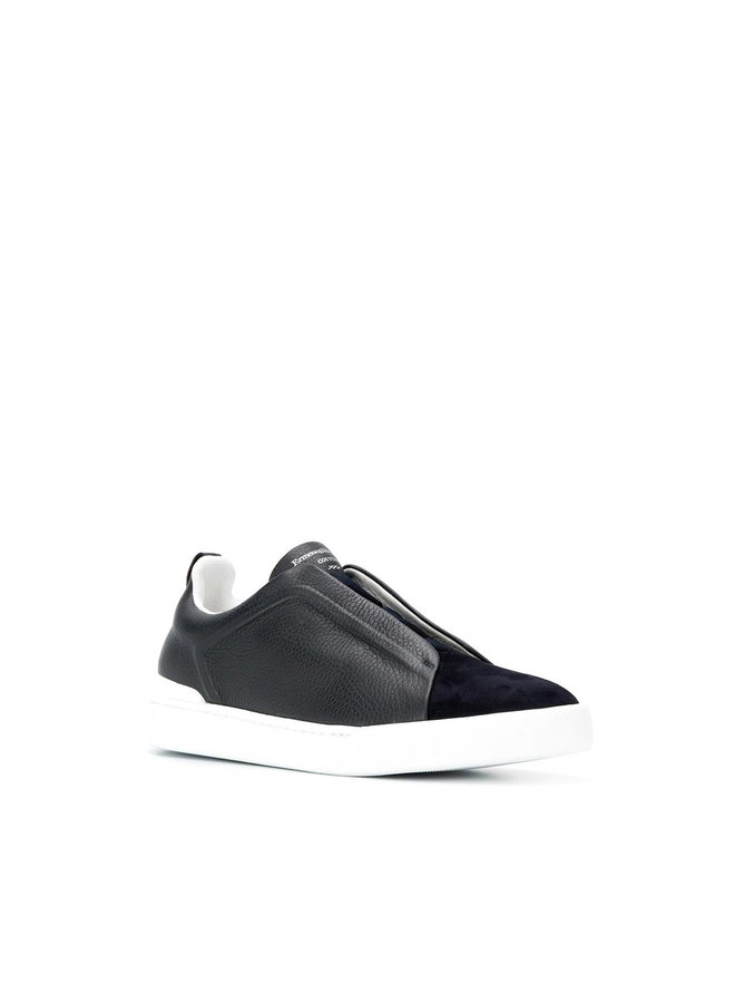 Zegna Couture Triple Stitch Sneakers in Leather in Blue/White