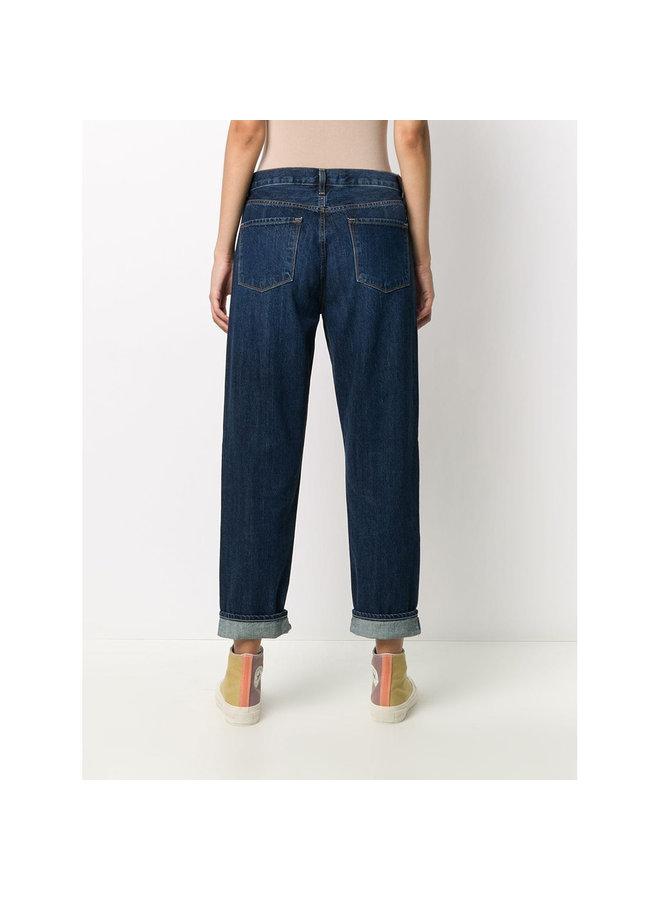 Boyfriend High Waist Denim Jeans in Dark Blue