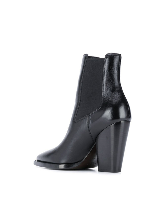 Theo Ankle Booties in Leather in Black