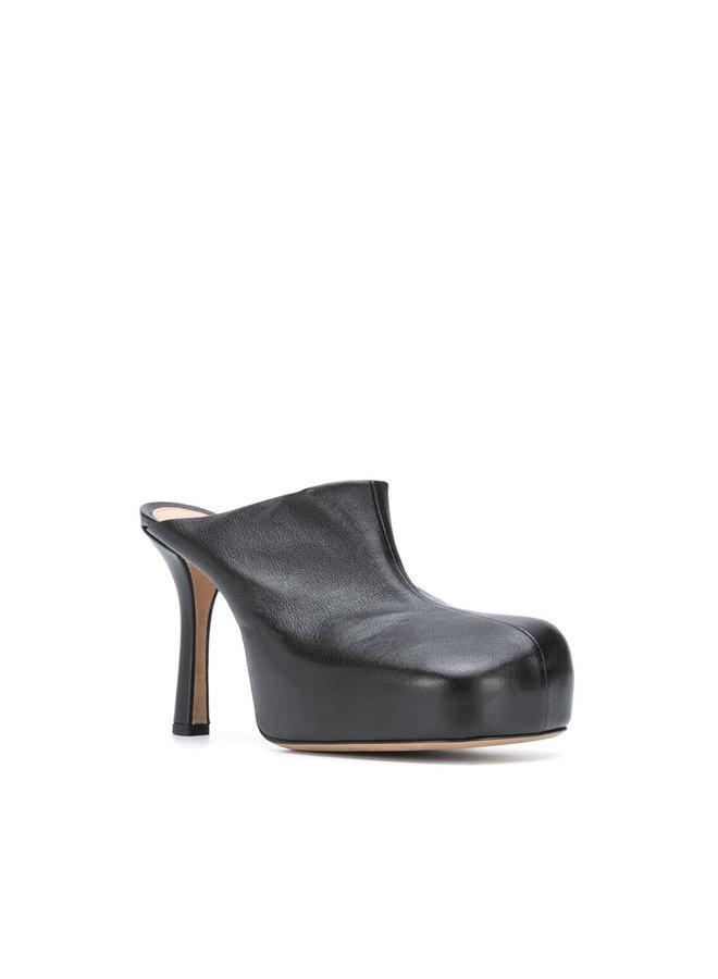 High Heel Sculptural Mules in Leather in Black