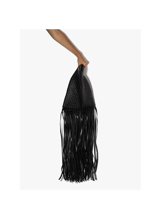 Crisscross Fringed Clutch in Intrecciato Leather in Black