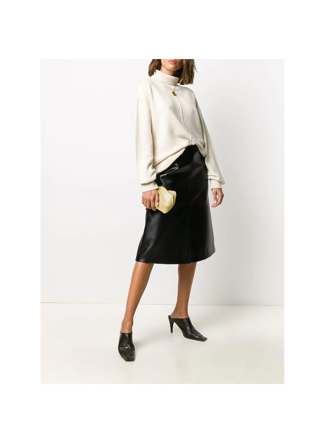 Textured Effect Clutch in Leather in Butter